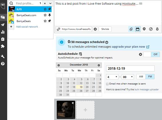 Hootsuite LinkedIn posts scheduler