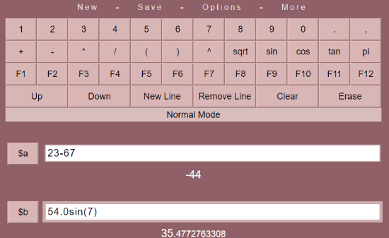 Merkoba calculator interface