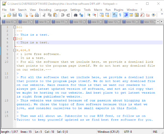 Notepad++ to view diff file