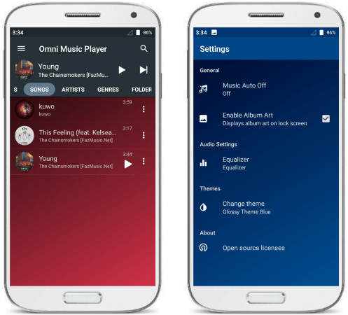 Omni Music Player ad free app for Android