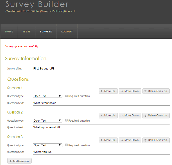 PHP open source Survey Builder in action