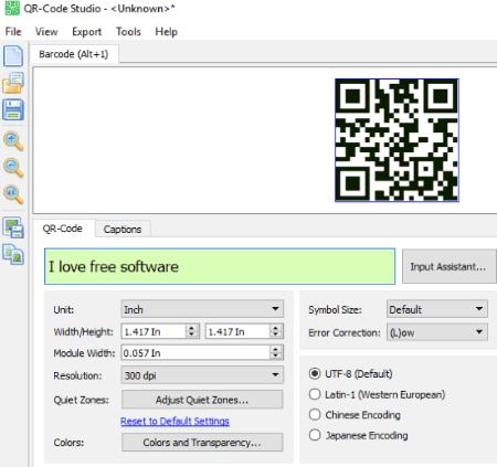 QR-Code Studio interface