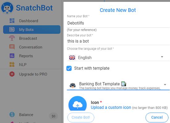 SnatchBot create bot