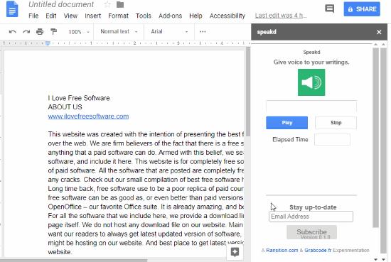 Speakd Google Docs text to speech add-on
