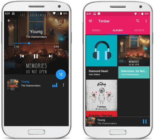 Timber free music player app for Android