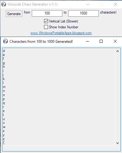 Unicode Generator in Vertical mode