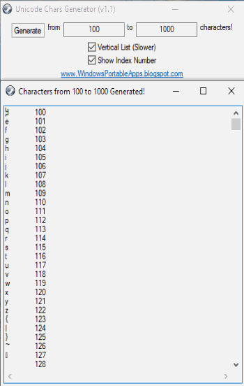 Unicode Generator vertical with index numbers