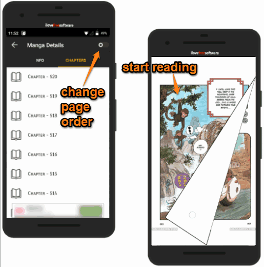 change page order and read manga