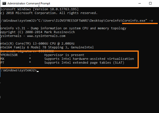 check if pc supports hypervisor using coreinfo