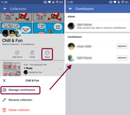 share saved collections with others on facebook