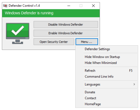 enable disable windows defender in a click