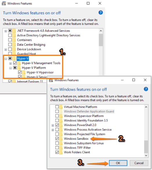 enable hyper v and windows sandbox options and save changes