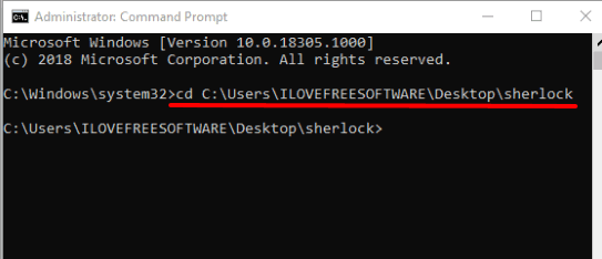 execute command to access sherlock folder in cmd