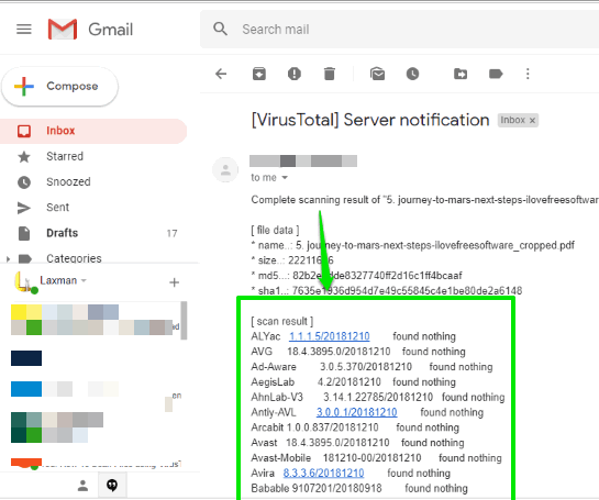 file scanned by virustotal by sending an email