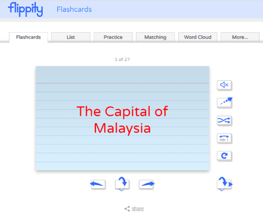 flashcards created using google sheets