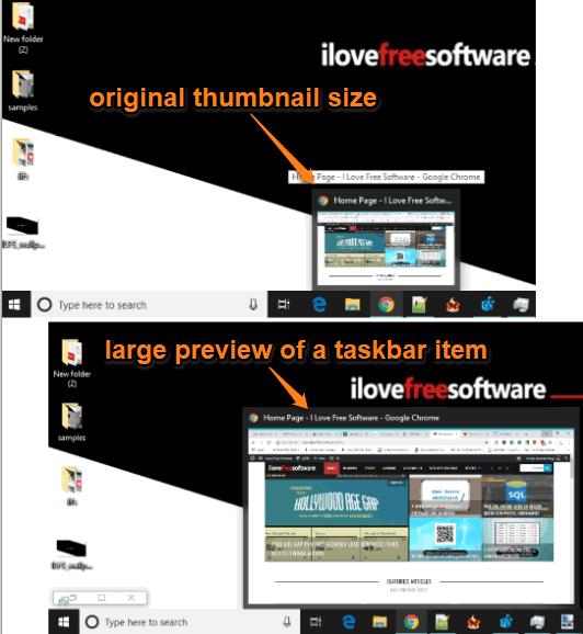 large preview of taskbar item windows 10