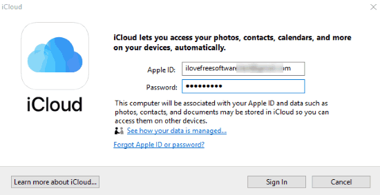 login with your icloud credentials