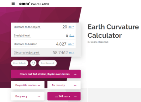 calculate online earth curvature online