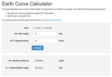 online earth curvature calculator