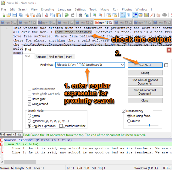 proximity search using notepad++