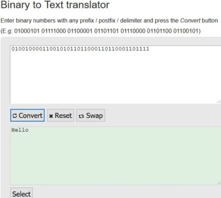 Online text to binary