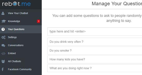 rebot.me random questions