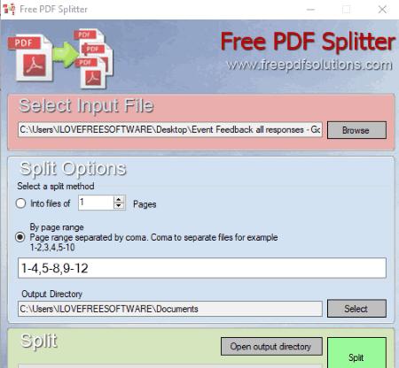 set page range and split pdf