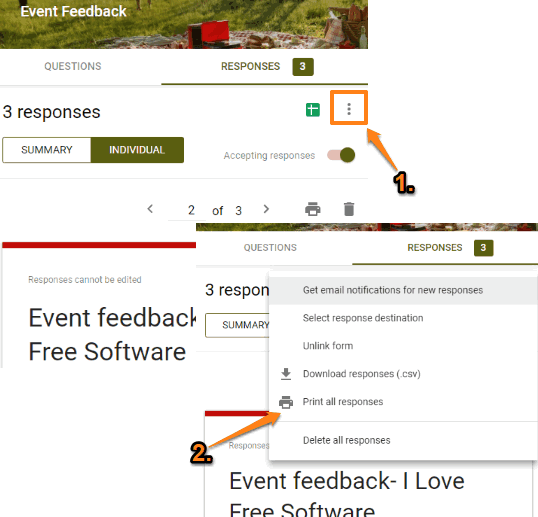 use more option and select print all responses option