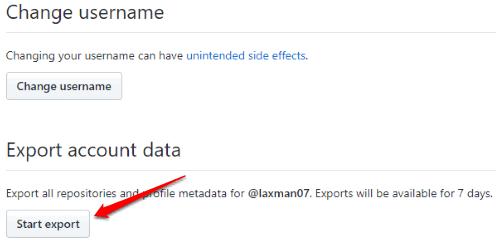 use start export button
