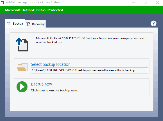zebNet Backup for Outlook