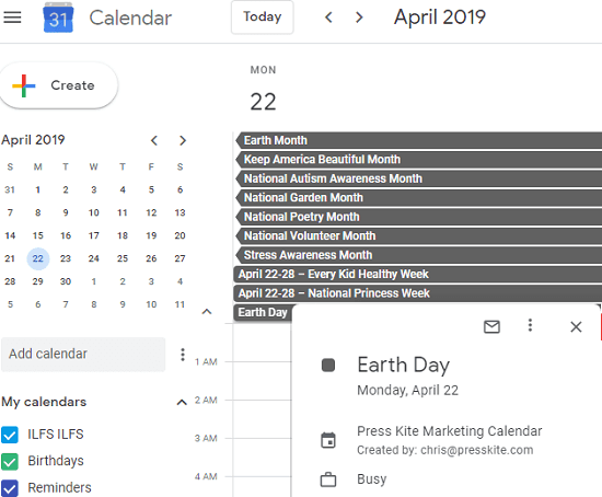 2019 Marketing Calendar by Press Kite in action