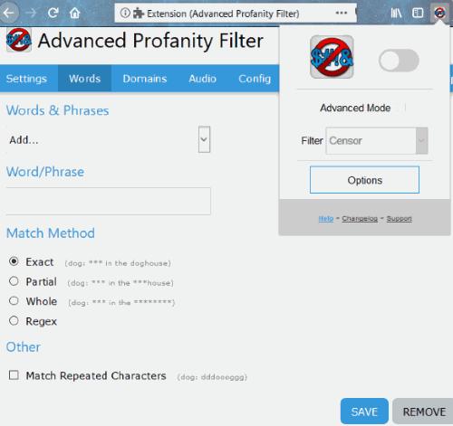 Advanced Profanity Filter Firefox add-on