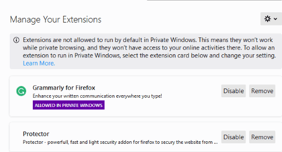 Allow specific add-on in Firefox private window