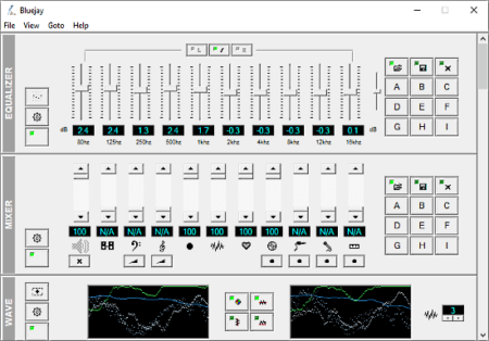 audio processing software with wave equalizer and mixing
