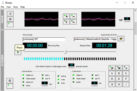 audio processing software with x-fader