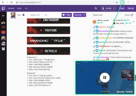 picture in picture on Twitch in Chrome
