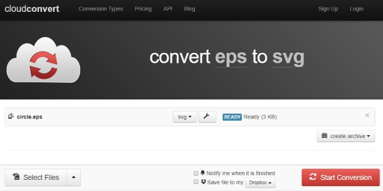 Convert EPS to SVG file
