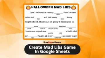 Create Mad Libs Game in Google Sheets