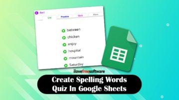 Create spelling words quiz in Google Sheets