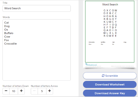 Education.com word search puzzle maker