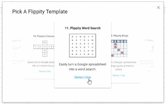 Flippity word search template