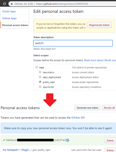 GitHub Token Create