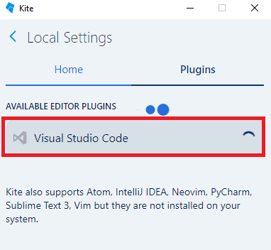 Kite installing plugin for vs code