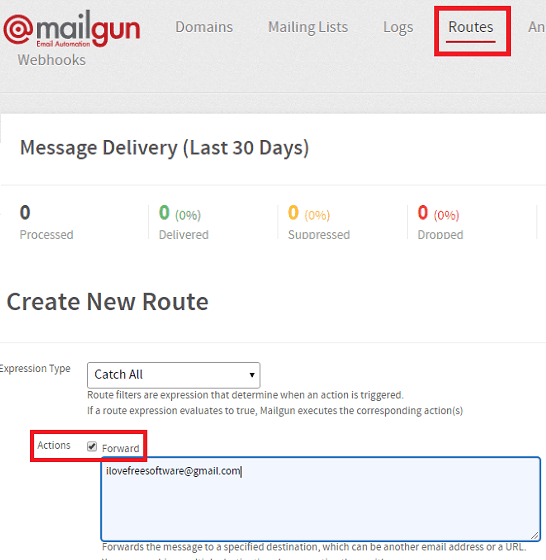 Mailgun create Route