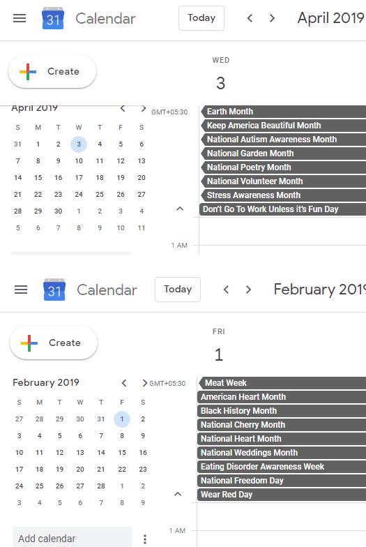 Marketing Calendar for 2019 with All Events, Google Calendar Integration