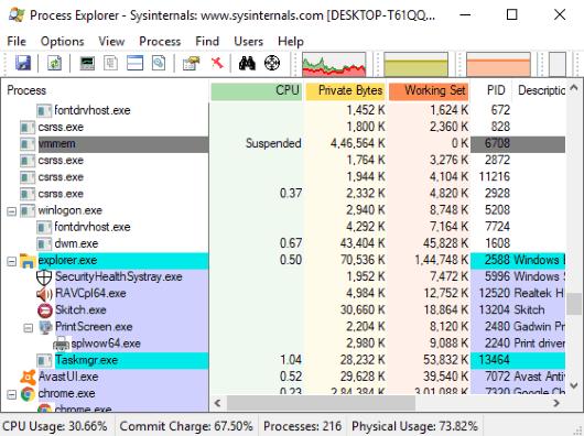 Process Explorer- interface