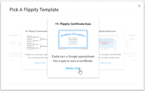 Select Flippity Certificate Quiz template