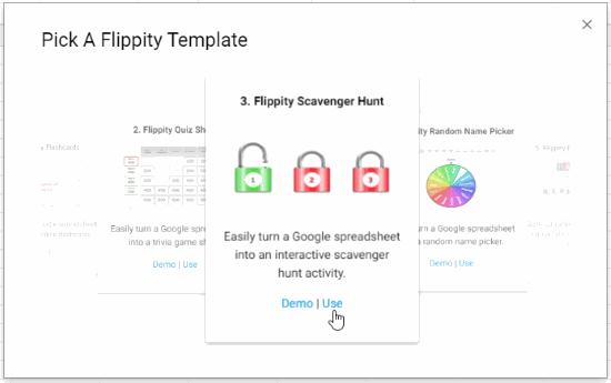 Select Flippity Scavenger hunt template
