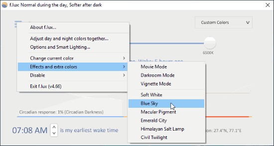 Set blue light for your computer screen
