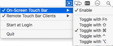 Touch bar installed and its menu bar options
